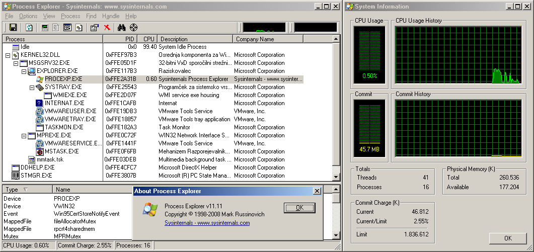 Latest Process Explorer versions that work on old Windows