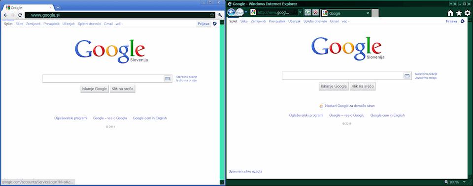 Chrome and IE9 on Windows 7